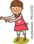 closeup of girl standing | Shutterstock .eps vector #95113252