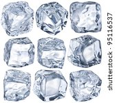 Small photo of Ice cubes on a white background. File contains clipping path.