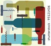 retro coloured wine bottle and... | Shutterstock .eps vector #95121436