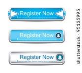 shiny blue register now button...   Shutterstock .eps vector #95135995