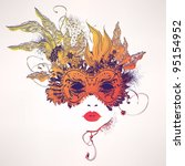 abstract woman face with... | Shutterstock .eps vector #95154952
