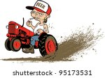 boot,cartoon,cigarette,decal,farm,graphic,hat,hillbilly,hole,jeans,mud,neck,red,shirt,smoke