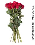 bouquet of red roses on a white ...   Shutterstock . vector #95190718