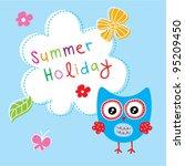 cute owl garden | Shutterstock .eps vector #95209450