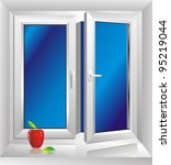 white plastic window with a sloping - stock photo