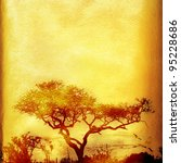 Textured grunge african paper background with tree and copy space. - stock photo