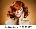 beauty portrait. curly hair | Shutterstock . vector #95259577