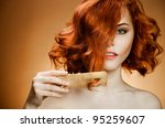 Beauty Portrait. Curly Hair An...