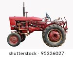 Old Red Tractor Isolated On...