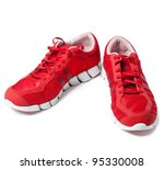 brightly red trainers | Shutterstock . vector #95330008