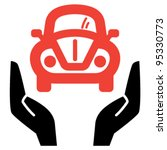 Hands holding red retro car, vector icon - stock vector