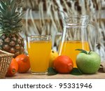 variety of fruit and juice on a ... | Shutterstock . vector #95331946