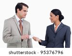 saleswoman handing business... | Shutterstock . vector #95376796