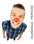 Young Man Wearing Red Nose