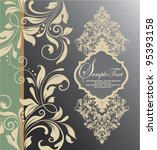 floral invitation card with... | Shutterstock .eps vector #95393158