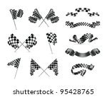 vector checkered flags  set