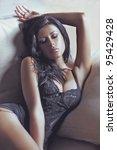 beautiful girl at the sofa | Shutterstock . vector #95429428