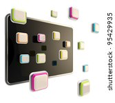 Colorful application icons surround a black glossy computer pad flat screen - stock photo