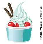frozen yogurt with cranberries | Shutterstock .eps vector #95431207