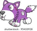 Crazy Purple Wolf Puppy Dog Vector Illustration Art - stock vector