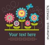 Stock vector cute greeting card vector illustration 95442376