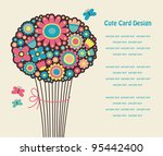 cute greeting card with cute...   Shutterstock .eps vector #95442400