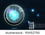 illustration of camera lens on futuristic background - stock vector
