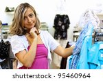 young woman doing shopping and...   Shutterstock . vector #95460964