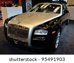TORONTO-FEBRUARY 16: Rolls Royce Ghost EWB at the 2012 Canadian International Auto Show on February 16, 2012 in Toronto - stock photo