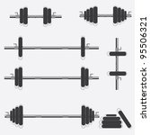 set of barbells and dumbbells... | Shutterstock .eps vector #95506321