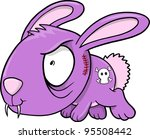 Crazy Evil Bunny Rabbit Animal Vector Illustration Art - stock vector