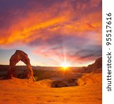 Delicate Arch in USA at sunset - stock photo