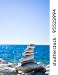 close up of white pebbles stack ... | Shutterstock . vector #95523994