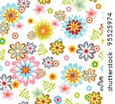 cute abstract seamless floral pattern. Colorful vector illustration - stock vector