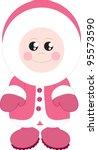 isolated standing eskimo girl... | Shutterstock .eps vector #95573590