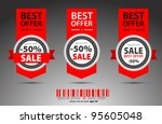 set of red vector sale tickets. | Shutterstock .eps vector #95605048