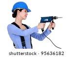craftswoman holding a drill | Shutterstock . vector #95636182