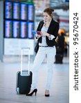 pretty young female passenger... | Shutterstock . vector #95670424