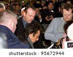 DUBLIN, IRELAND - FEBRUARY 20: Al Pacino giving autograph at premiere of his Wilde Salome movie at Jameson Dublin International Film Festival in Savoy Cinema on February 20, 2012 Dublin, Ireland - stock photo