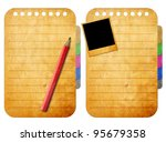 Pencil on Blank notebook on old paper background - stock photo