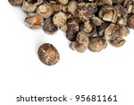 Mushrooms isolated against white background. Selective focus. - stock photo