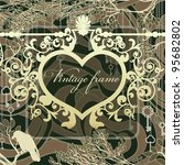 vintage background with wrought ... | Shutterstock .eps vector #95682802