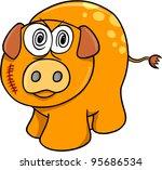 Crazy Farm Pig Vector Illustration Art - stock vector