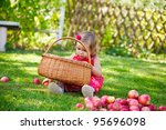 little girl collects the apples ... | Shutterstock . vector #95696098