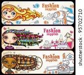 fashion banner. shopping girls. ... | Shutterstock .eps vector #95702710