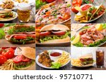 collage of fast food products | Shutterstock . vector #95710771