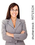 Business woman smiling with arms crossed - isolated over white - stock photo
