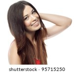 attractive woman on white... | Shutterstock . vector #95715250