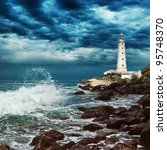 Stormy Sky Over Lighthouse Sit...