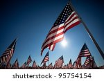 Stock photo large group of american flags commemorating a national holiday veterans day independence day 95754154
